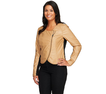 Lisa Rinna Collection Cropped Faux Leather Jacket