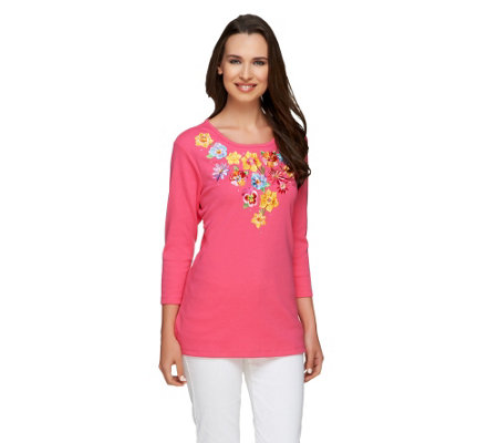 Quacker Factory Pretty Petals 3/4 Sleeve T-shirt