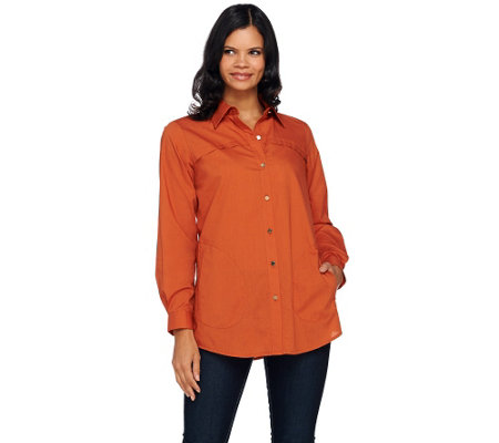 Joan Rivers Military Style Boyfriend Shirt w/ Long Sleeves