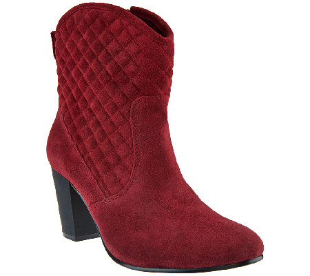 Isaac Mizrahi Live! Suede Quilted Stacked Heel Boots