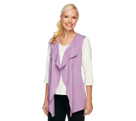 """As Is"" LOGO Lounge by Lori Goldstein Cascade Vest with Pockets"