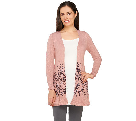 """As Is"" LOGO by Lori Goldstein Open Front Knit Cardigan with Floral Hem"