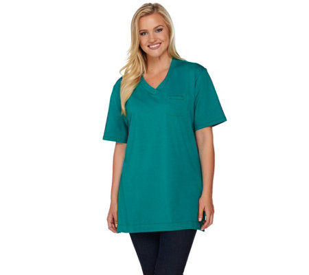 Denim & Co. Essentials Oversized Crossover V-neck Tee