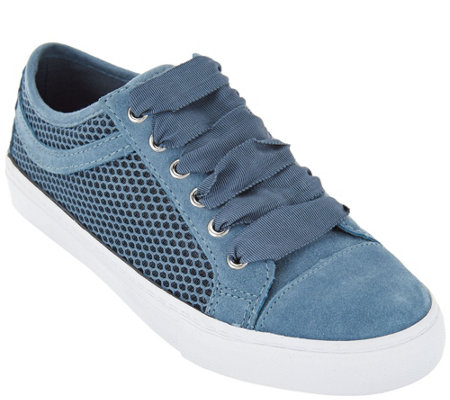 Isaac Mizrahi Live! SOHO Suede Lace-up Sneakers with Mesh Detail