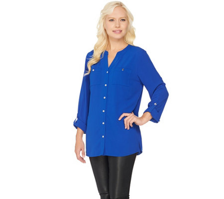 Susan Graver Stretch Woven Button Front Long Sleeve Shirt