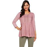 LOGO by Lori Goldstein Woven Top with Embroidery and Knit Details - A286971