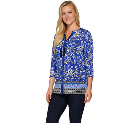 """As Is"" Susan Graver Printed Liquid Knit Button Front Shirt"