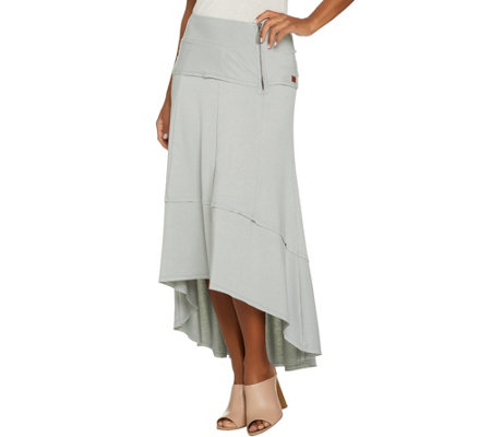 Peace Love World French Terry Hi-Low Hem Maxi Skirt w/ Zipper