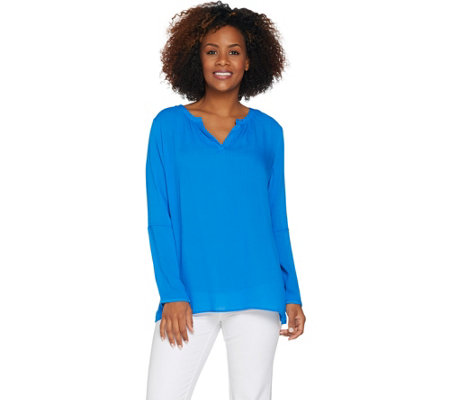 Kelly by Clinton Kelly Split V-neck Woven Tunic
