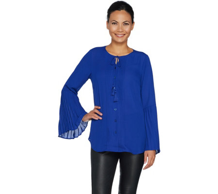 Belle by Kim Gravel Woven Blouse with Ruffle Bell Sleeve