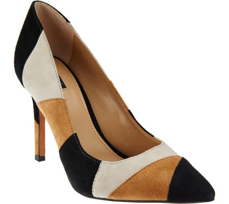 """As Is"" G.I.L.I Pointed Toe Pumps- Jill 2- Patchwork"