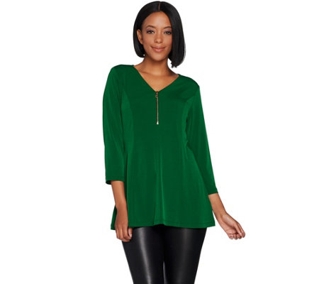 Susan Graver Liquid Knit Fit and Flare Top with Zipper