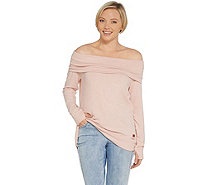 Peace Love World Comfy Knit Off the Shoulder Top w/ Affirmation - A298971