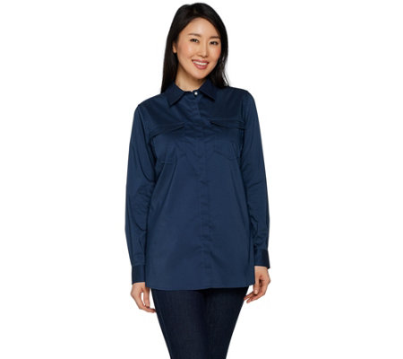 Martha Stewart Stretch Poplin Blouse with Faux Pearl Buttons