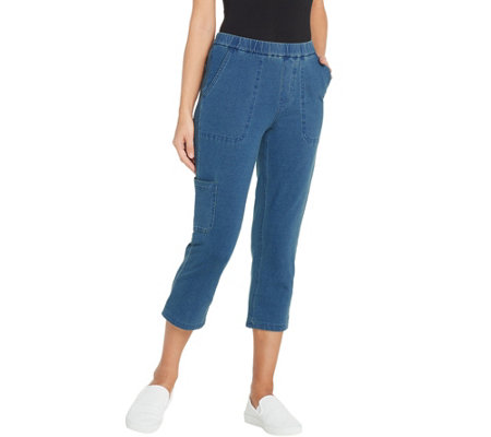 Denim & Co. Petite Comfy Knit Denim Slim Leg Cargo Crop Jean