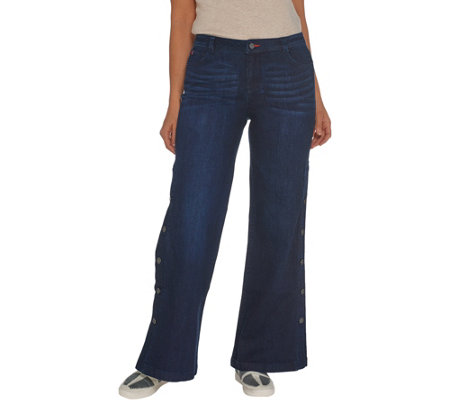 Peace Love World Petite Denim Button Side Full Length Pants