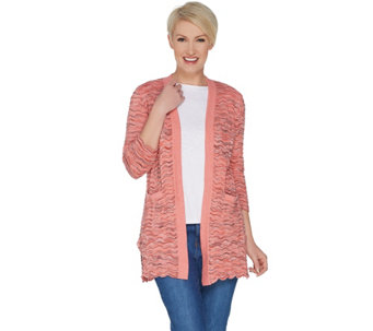 7c9e391d22 3 4 Sleeve Open Front Scallop Stitch Cardigan - A303171