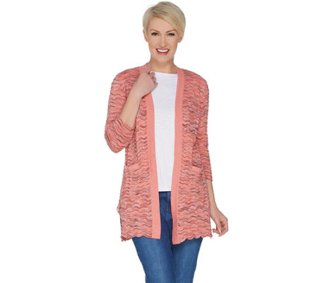 Isaac Mizrahi Live! 3/4 Sleeve Open Front Scallop Stitch Cardigan