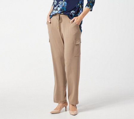 """As Is"" Susan Graver Regular Liquid Knit Pull-On Cargo Pants"