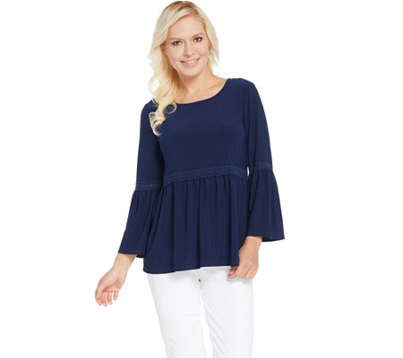 Attitudes by Renee Como Jersey Top with Lace Detail