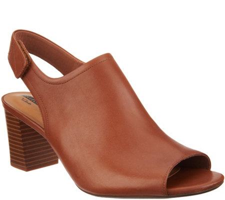 Clarks Leather Stacked Heel Peep Toe Sandals - Deva Jayleen