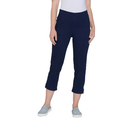 Denim & Co. Indigo Soft Stretch Smooth Waist Crop Jeans