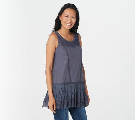 LOGO Lavish by Lori Goldstein Cotton Tank with Lace & Pleated Trim