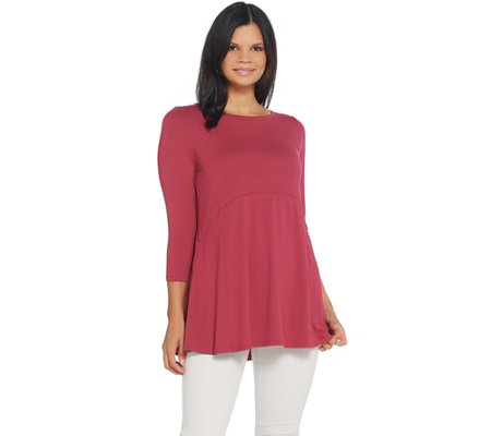 Joan Rivers Empire Waist Tunic With 3 4 Sleeves