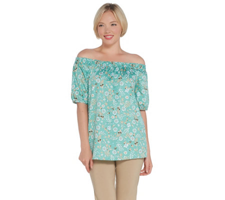 Martha Stewart Stretch Sateen Floral Printed Off-the- Shoulder Blouse
