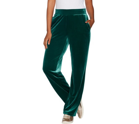 """As Is"" Susan Graver Petite Stretch Velvet Pull-On Wide Leg Pants"