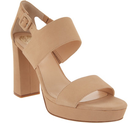 Vince Camuto Leather Block Heeled Sandals - Jayvid