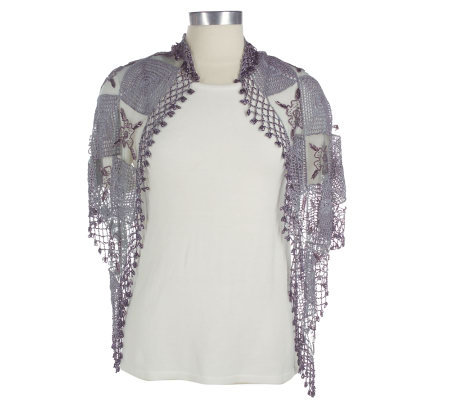 Lee Sands Crocheted Shawl with Bead Accents & Fringe Detail
