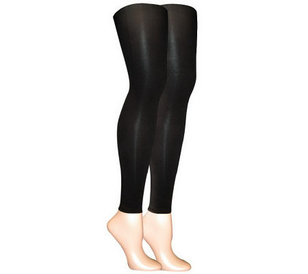 MUK LUKS Women's 2-Pair Pack Microfiber Footles s Tights