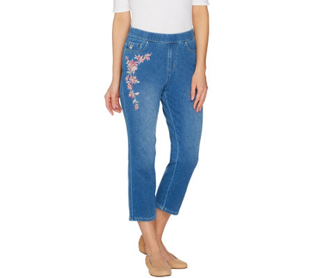 """As Is"" Belle by Kim Gravel Flexibelle Embroidered Pull-On Jeans"