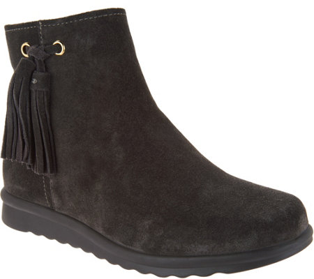 """As Is"" Vaneli Suede Ankle Boots with Tassel - Dommie"