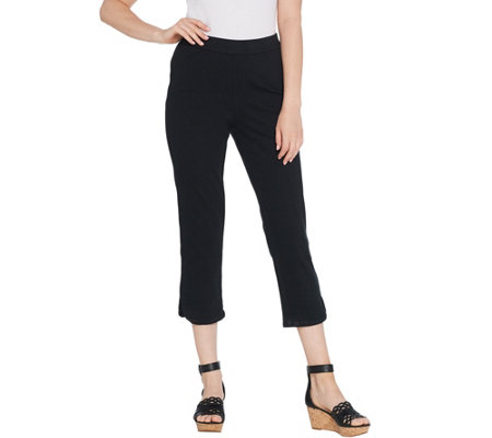 As Is Isaac Mizrahi Live Petite Knit Denim Pull On Capri Jeans
