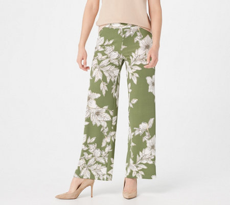 Isaac Mizrahi Live Regular Floral Printed Pebble Knit Wide Leg Pants