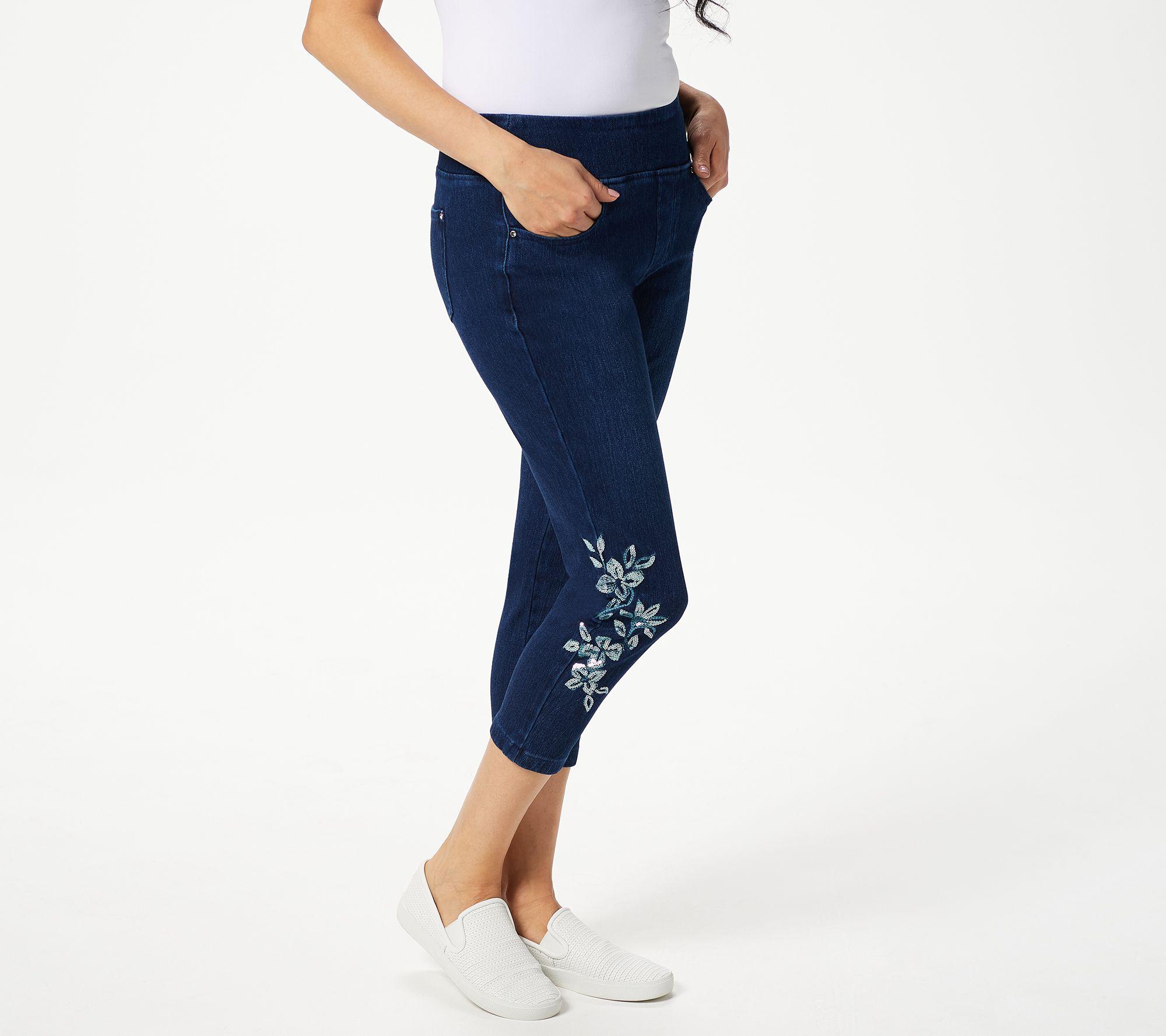 Belle by Kim Gravel Flexibelle Camo Cuffed Cropped Jeans Light Wash Size 14