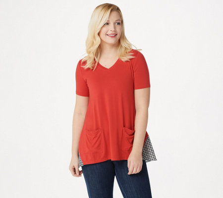 LOGO by Lori Goldstein Rayon 230 Top with Gingham Back Panel