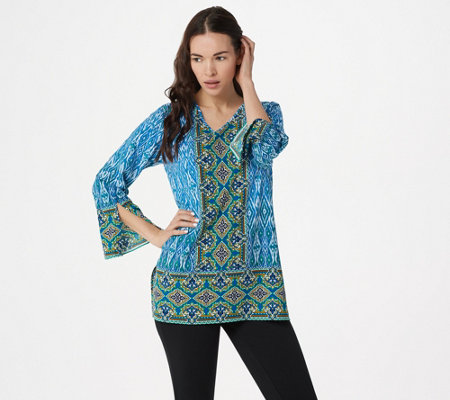 Belle by Kim Gravel Border Print V-Neck Tunic