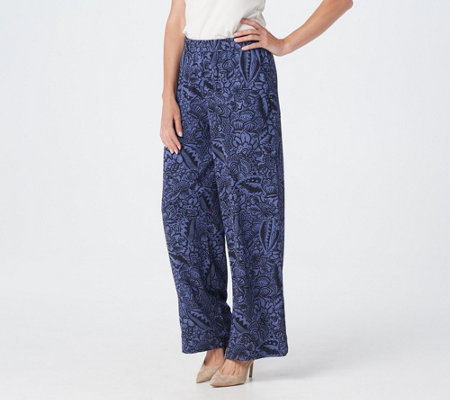 Linea by Louis Dell'Olio Petite_Printed Pull-On Wide Leg Pants