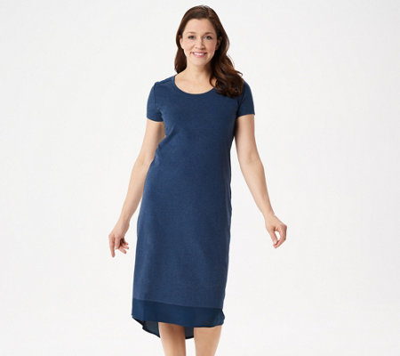 H by Halston Regular Hi-Low Short-Sleeve Knit Midi Dress w/ Woven Detail