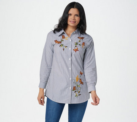 Quacker Factory Embroidered Striped Button Front Shirt