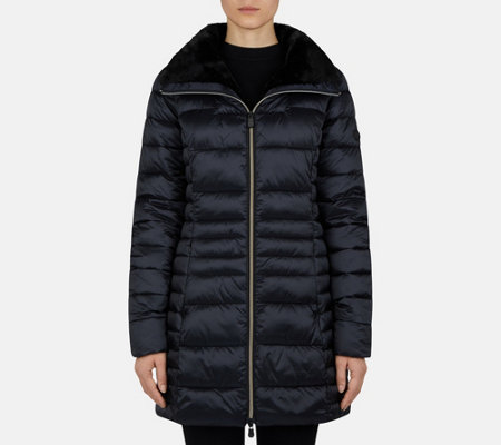 Save the Duck Mid-Length Puffer Jacket with Funnel Neck - Iris