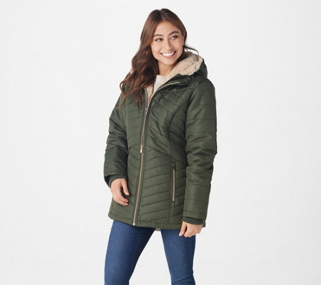 Susan Graver Water Resistant Quilted Jacket with Teddy Lining