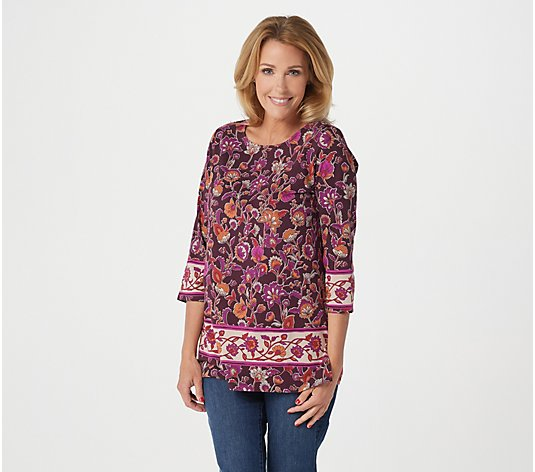 """As Is"" Susan Graver Weekend Printed Cotton Modal Tunic"