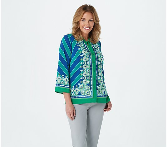 Bob Mackie Bombay Placement Print Button Front Shirt
