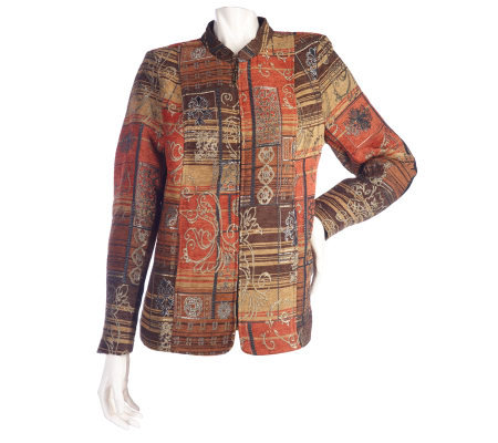 Susan Graver Printed Tapestry Jacket with Stand Collar