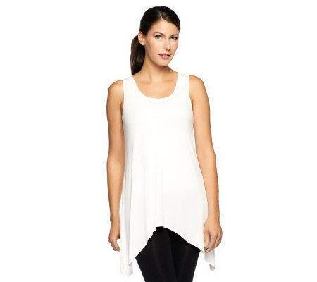 LOGO Layers by Lori Goldstein Scoop Neck Asymmetrical Hem Knit Tank
