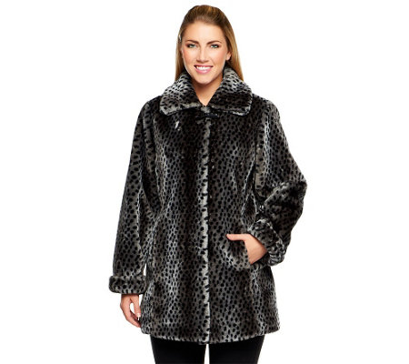Dennis Basso Animal Print Faux Fur Wing Collar Jacket